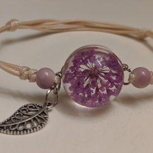 Jewelry - Real flower glass ball bracelet